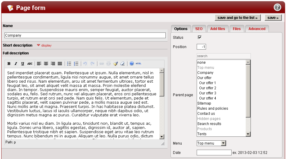 Pages management