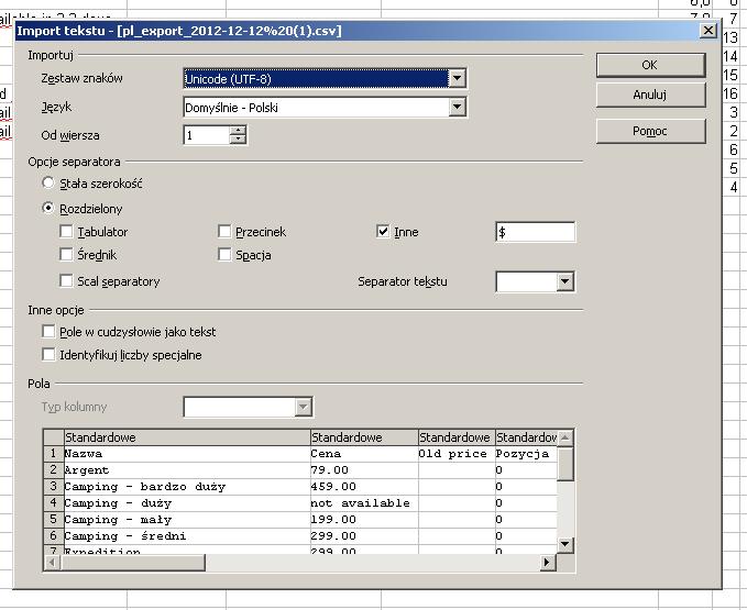 Importowanie danych do OpenOffice.org Calc
