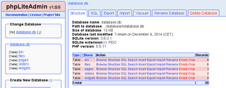 Database manager screenshot